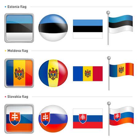 Estonia and Moldova, Slovakia Flag Icon  The world national Icon Design Series  Vector
