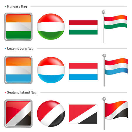 Hungary and Luxembourg, Sealand Island Flag Icon  The world national Icon Design Series  Stock Vector - 17183071