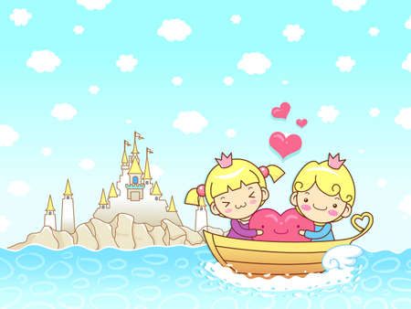 The couple s love towards the boat ride  A couple of Love Character Design Series  Vector