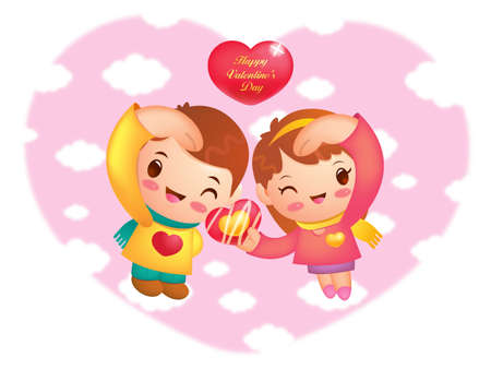 Man and  Woman the Love is gesture  Valentine Character Design Series  Stock Vector - 17548272