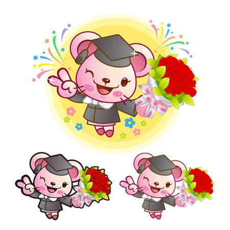 Graduation related event Pink Mouse Mascot  Education Character Design Series  Stock Vector - 17548268