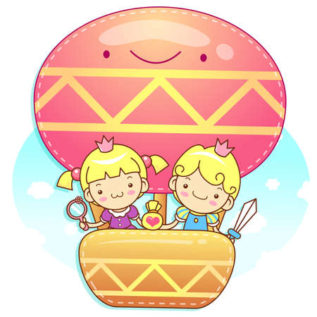 The fun a balloon Prince and Princess Mascot  A couple of Love Character Design Series  Stock Vector - 17548247