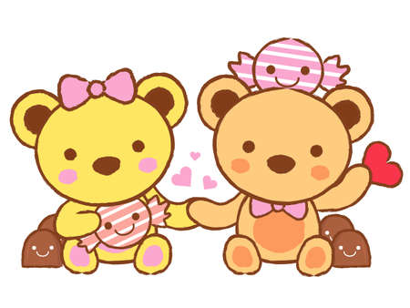 Cute teddy bear mascot and Chocolate  Valentine Character Design Series  Stock Vector - 17548224