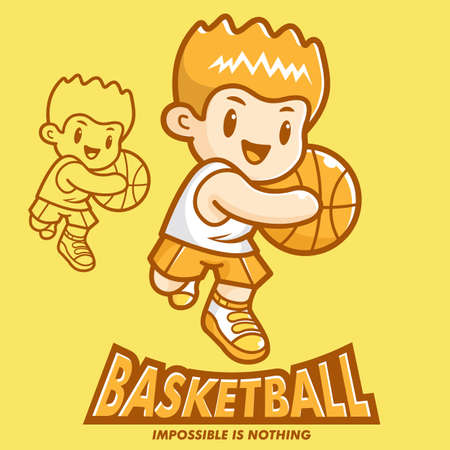 Basketball exercise in boys Mascot  Sports Character Design Series  Vector