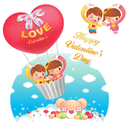 A Girls and boys Fly in the sky riding balloon  Valentine Character Design Series  Stock Vector - 17548304