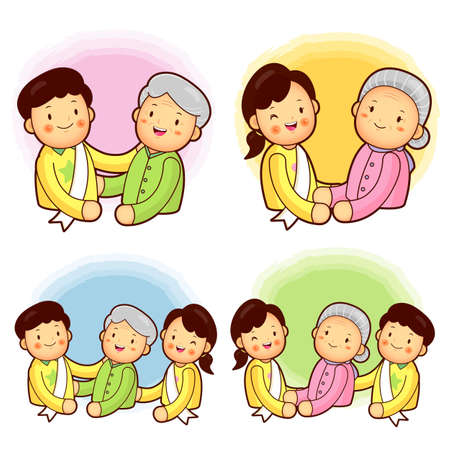 Father and mother to help the elderly  A family Character Design Series  Vector
