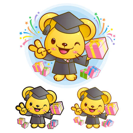 Graduation related event Yellow Mouse Mascot  Education Character Design Series  Vector