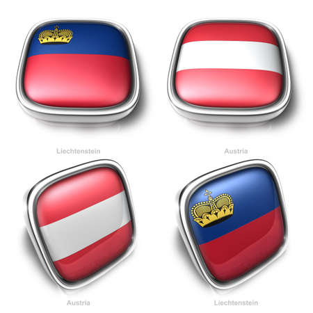 Liechtenstein and Austria 3d metalic square flag button photo