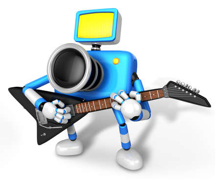 To the Left toward the Blue Camera Character playing the guitar  Create 3D Camera Robot Series  Stock Photo - 18149089