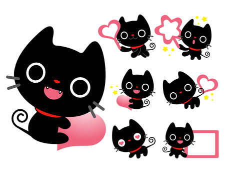 Flexibility as possible a set of Black Cat Mascot  An animal Character Design Series  Vector