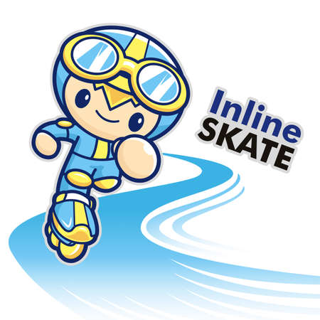 Inline skating boy Mascot  Sports Character Design Series  Vector