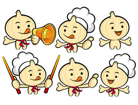 Flexibility as possible a set of Cook Garlic Mascot  Food and Market Character Design Series  Vector