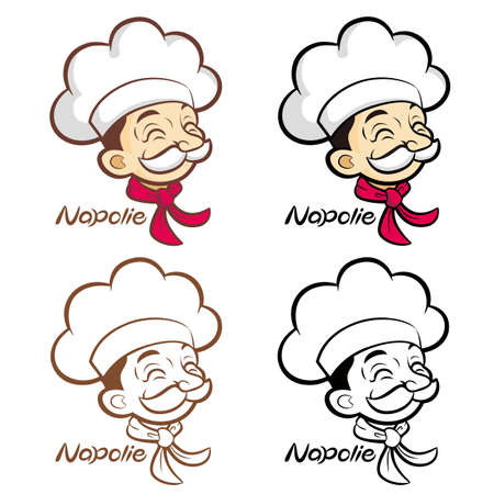 Flexibility as possible a set of Napolie Chef Mascot  Food and Market Character Design Series  Vector