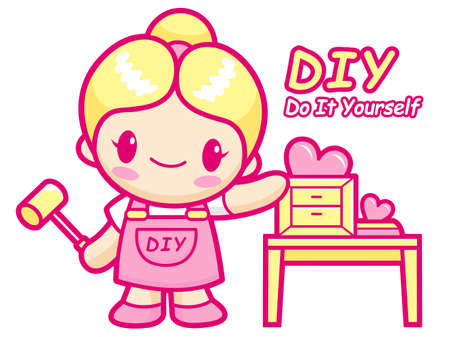 Women your own DIY Furniture is proud  Do it yourself Mascot  Work and Job Character Design Series  Vector