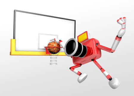 Red Camera Characte playing a dunk shot. Create 3D Camera Robot Series. photo