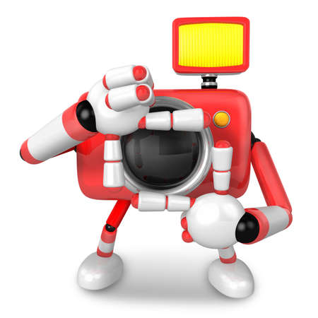 The body language of the shape of the camera shots that Red Camera Character. Create 3D Camera Robot Series. photo
