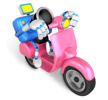 Pink camera character the right motorbike driving. Create 3D Camera Robot Series. photo