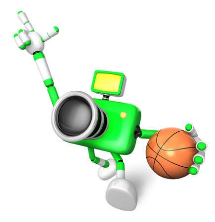 The green camera character holding a basketball running. Create 3D Camera Robot Series photo