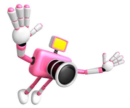 Pink Camera character on powerful jump. Create 3D Camera Robot Series. photo