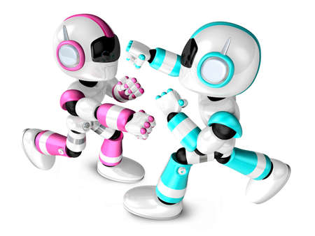 The pink robots and sky blue robot boxing matches. Create 3D Humanoid Robot Series. photo