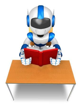 Blue robot character from the desk reading a book  Create 3D Humanoid Robot Series  photo
