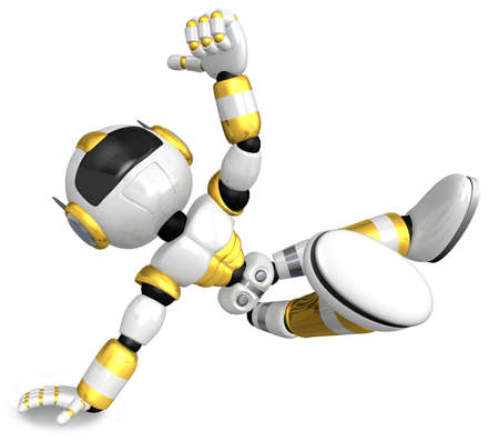 Gold Robot Character dancing is an intense dance with one arm  Create 3D Humanoid Robot Series  photo