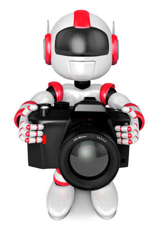 Red robot character the front to shoot the camera toward  Create 3D Humanoid Robot Series  photo