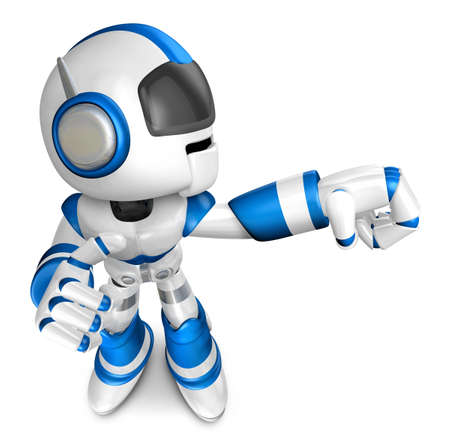 Blue robot character Punching to the right  Create 3D Humanoid Robot Series  photo