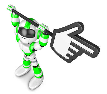 Green robot character holding up a big cursor  Create 3D Humanoid Robot Series  photo