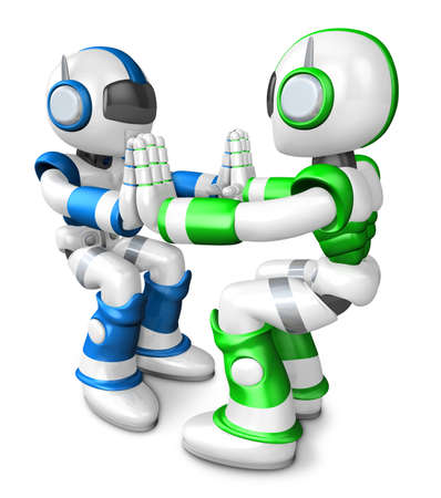 Green robots and Blue robots Pushing each other  Create 3D Humanoid Robot Series  photo