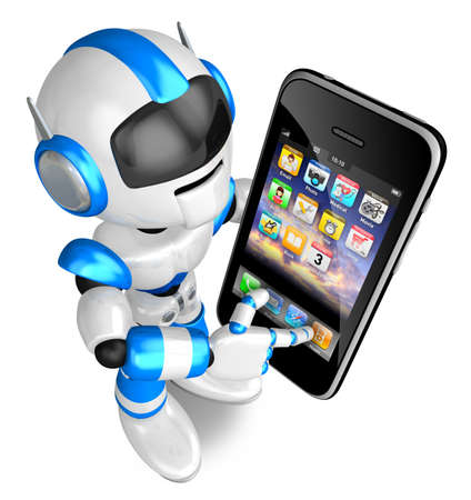 Blue Robot Character Big smartphone a touch  Create 3D Humanoid Robot Series  Stock Photo - 18834694