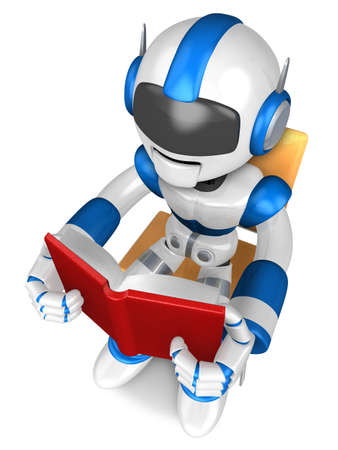 Blue robot character sitting on a chair reading a book  Create 3D Humanoid Robot Series  photo