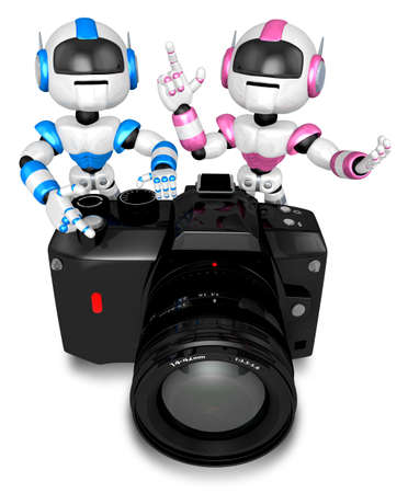 Blue robot and pink robot Big Camera the photographing  Create 3D Humanoid Robot Series  Stock Photo - 18834601