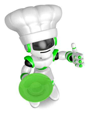 Green robot the right hand best gestures  holding a plate Left hand  Create 3D Humanoid Robot Series  photo