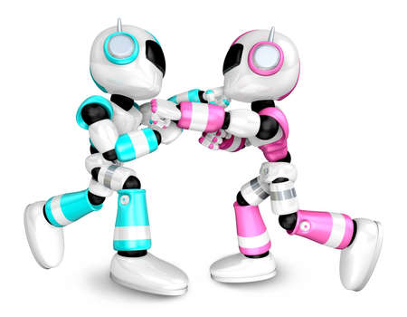 The pink robots and sky blue robot boxing matches  Create 3D Humanoid Robot Series  photo