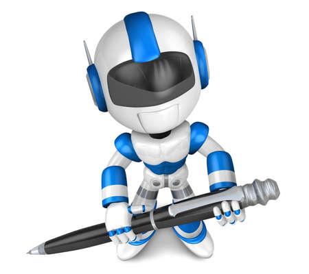 Blue robot Character ballpoint pen a handwriting  Create 3D Humanoid Robot Series  Stock Photo - 18834688