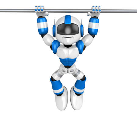 Blue robot character is hanging in horizontal bar  Create 3D Humanoid Robot Series  photo