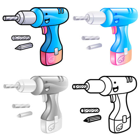 Various styles of drill tool Sets. Industrial market Items Vector Icon Series. Vector