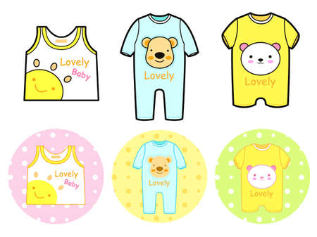 Various styles of Rompers and Tshirt Sets. Baby and Children Goods Vector Icon Series. Vector