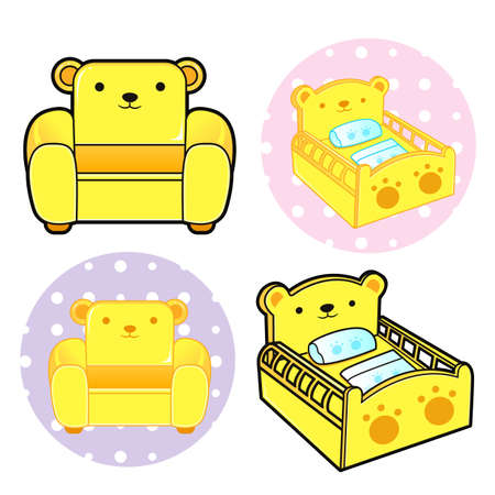 Various styles of Baby Crib and sofa Sets. Baby and Children Goods Vector Icon Series. Vector