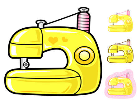 Various styles of Sewing machine Sets. Appliances Items Vector Icon Series. Vector