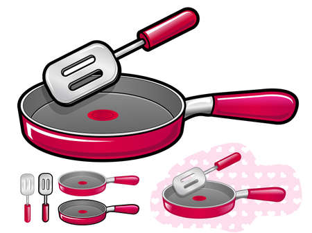 Various styles of Frying pan Sets. Kitchen utensils Vector Icon Series. Vector