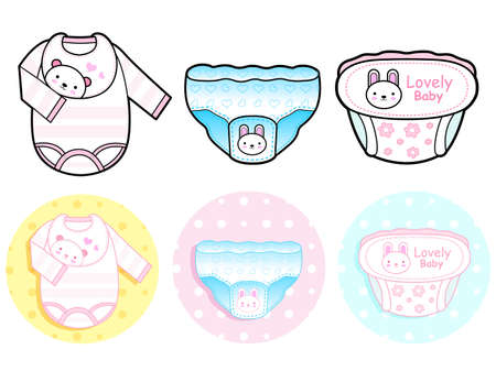 Diverse styles of Diape and Panties, Sets. Baby and Children Goods Vector Icon Series. Vector