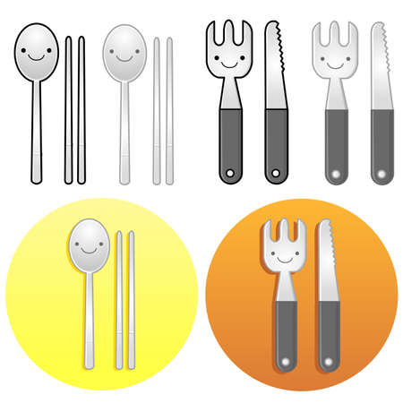 Diverse styles of Fork and Knife Sets. Kitchen utensils Vector Icon Series. Vector