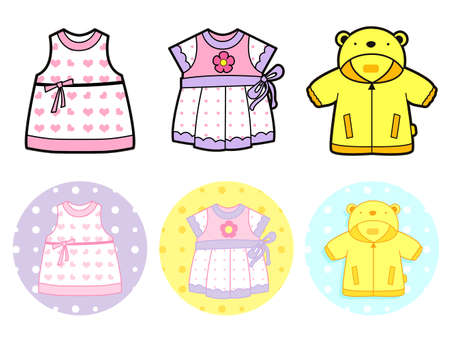 Various styles of Jumper and Dress, Sets. Baby and Children Goods Vector Icon Series. Vector