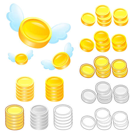 Diverse styles of Gold coin Sets. Economy and Finance Vector Icon Series. Vector