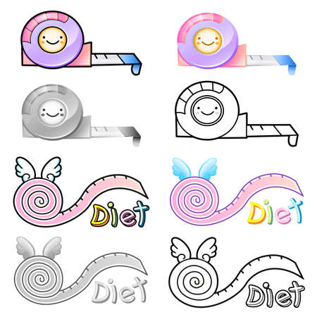 Diverse styles of Tape measure Sets. Household Items Vector Icon Series Vector