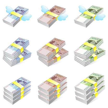 Different styles of Korea Paper Money Sets. Economy and Finance Vector Icon Series. Vector