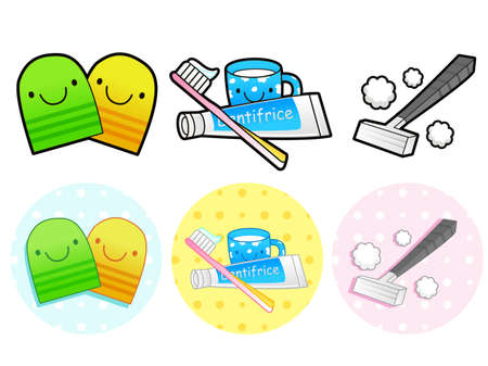Different styles of Toiletries Sets. Household Items Vector Icon Series. Vector