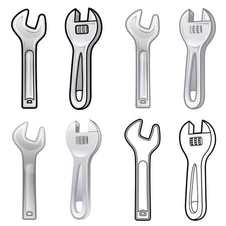 Diverse styles of Spanner and Wrench Sets. Industrial market Items Vector Icon Series. Vector